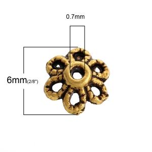 Шапочки золотистые 6х2мм, 10шт