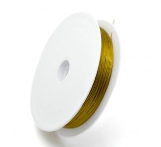 Тросик ювелирный золотистый 0,38мм, 1 катушка 100м