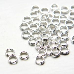 Колечки двойные серебристые 6мм, 10шт.