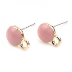 Швензы - гвоздики позолоченные с розовой эмалью 6мм