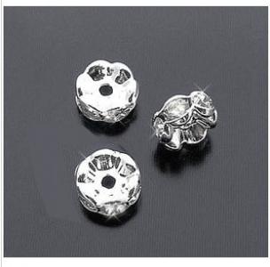 Бусина посеребренная с кристаллами (США) 6*2мм, цена за 1шт.