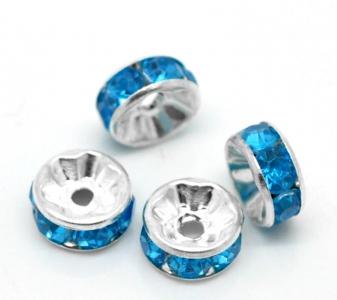 Бусина с голубыми кристаллами 8*3мм, цена за 1шт.