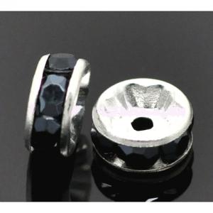 Бусина с черными кристаллами 8*3мм, цена за 1шт.