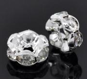 Бусина посеребренная с кристаллами 8*3мм, цена за 1шт.
