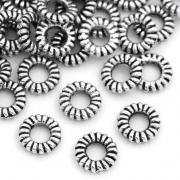 Колечки витые посеребренные цельные 5мм, 10шт.